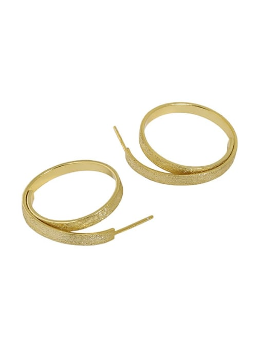 18K gold [with pure Tremella plug] 925 Sterling Silver Geometric Vintage Hoop Earring